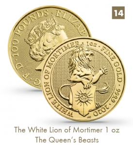 The White Lion of Mortimer 1 oz - The Queen's Beasts